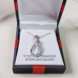 Diamond and Sterling Silver Elegant Necklace NEW